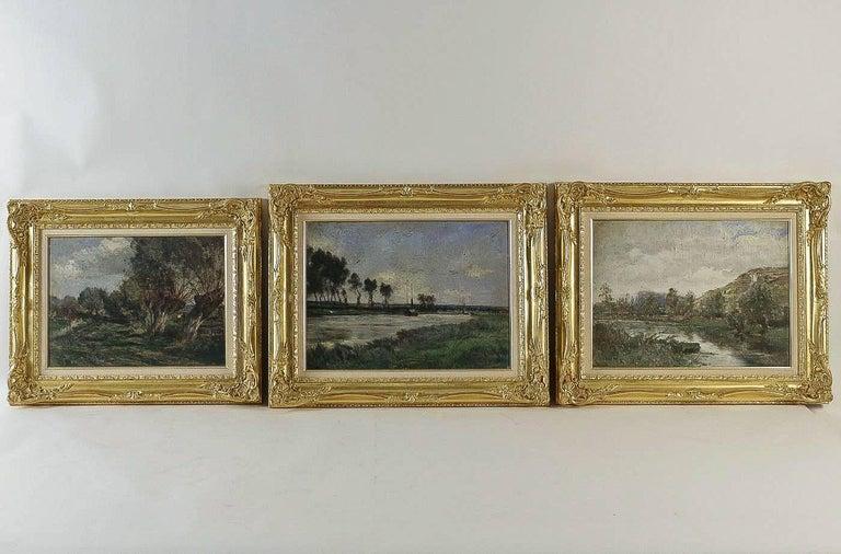 Barbizon School, River Landscape, Oil on Cardboard, circa 1880-1890 In Good Condition For Sale In Saint Ouen, FR