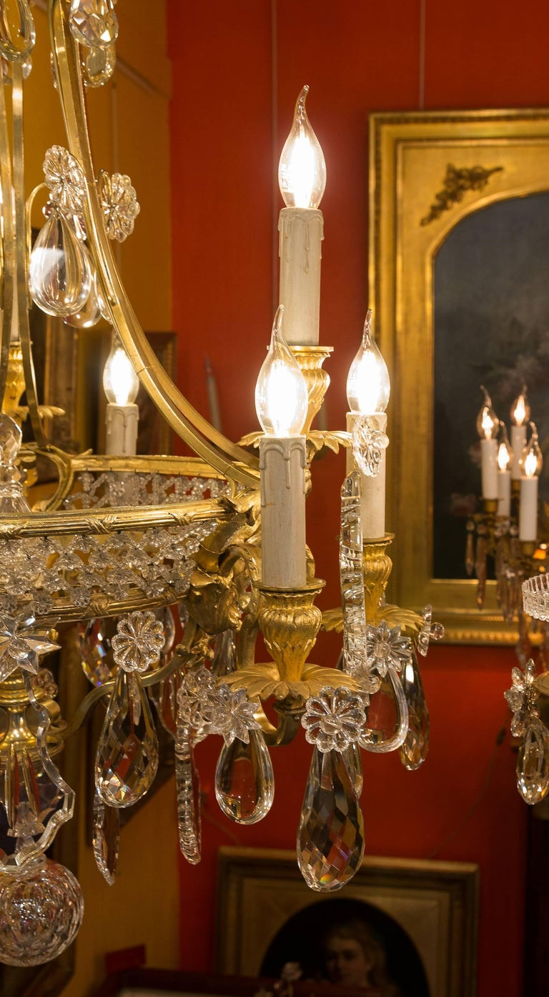 Mid 19th Century Ormolu And Crystal Chandelier By