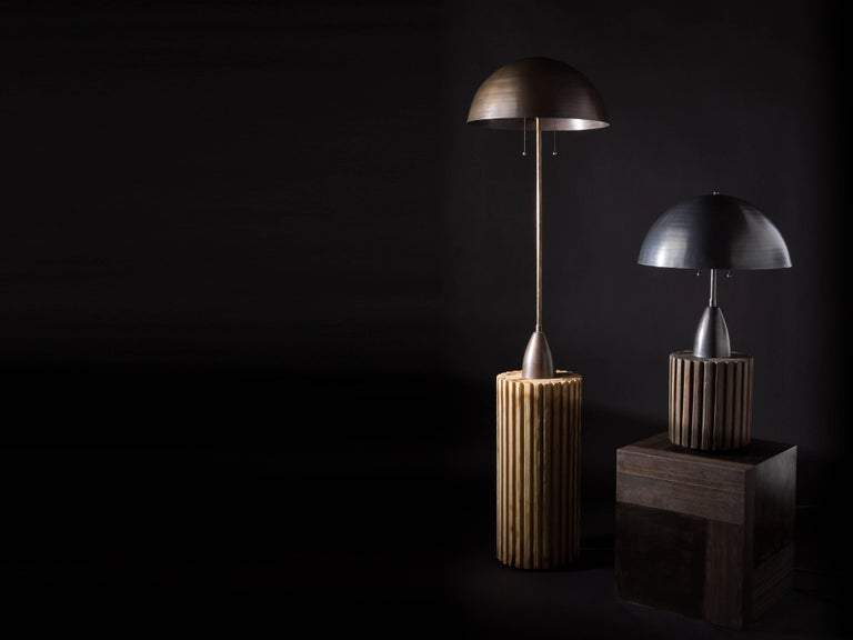 Inspired by found architectural salvage, these lamps are handcrafted from ash and brass. Available with bleached or blackened wood.