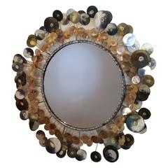 "Curtis Jeré ""Raindrops"" Wall-Hanging Mirror, Mixed Metal and Mirrored Glass"
