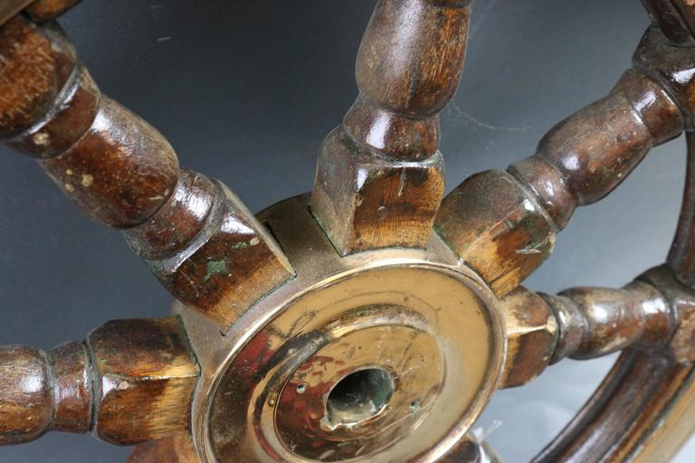 Antique Ship's Wheel In Distressed Condition For Sale In Norwell, MA