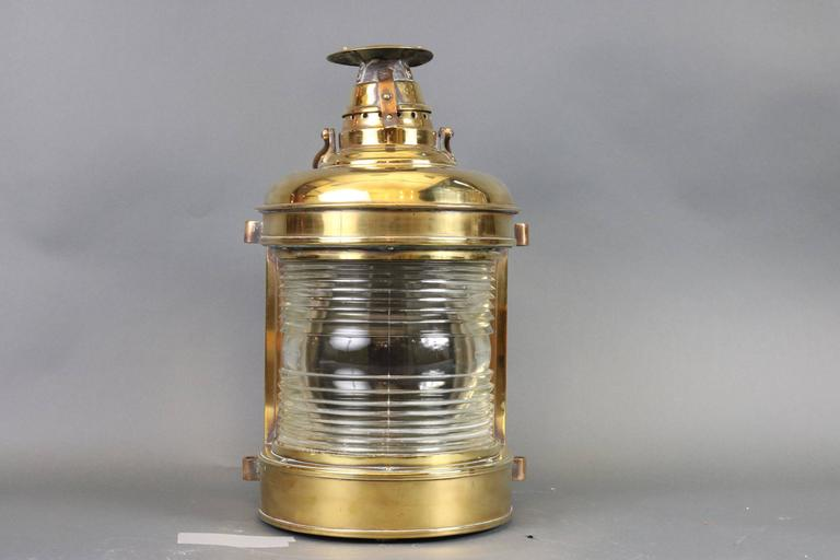 Outstanding Solid Brass Ship's Lantern In Good Condition For Sale In Norwell, MA