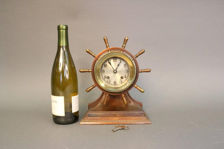20th Century Ship's Bell Clock with Wheel For Sale