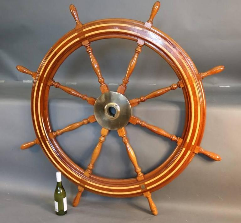 Wooden Ship's Wheel In Good Condition For Sale In Norwell, MA