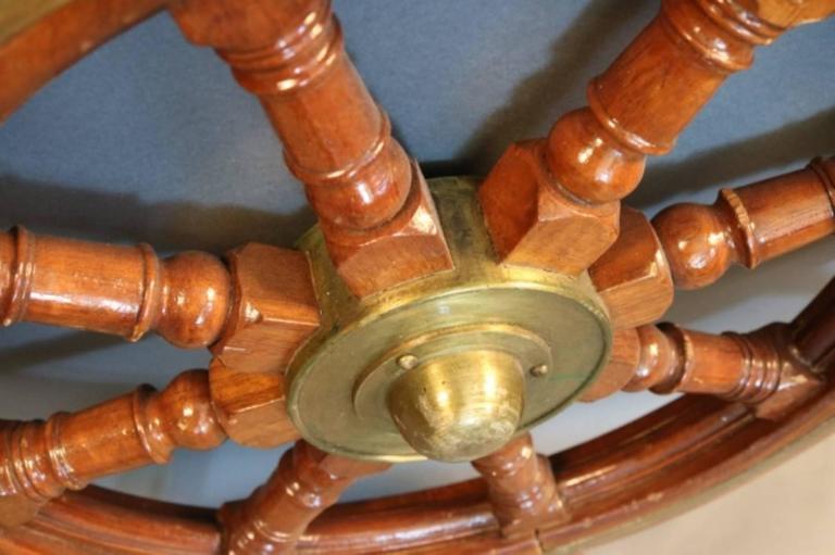20th Century Mahogany Ship's Wheel with Brass Hub For Sale