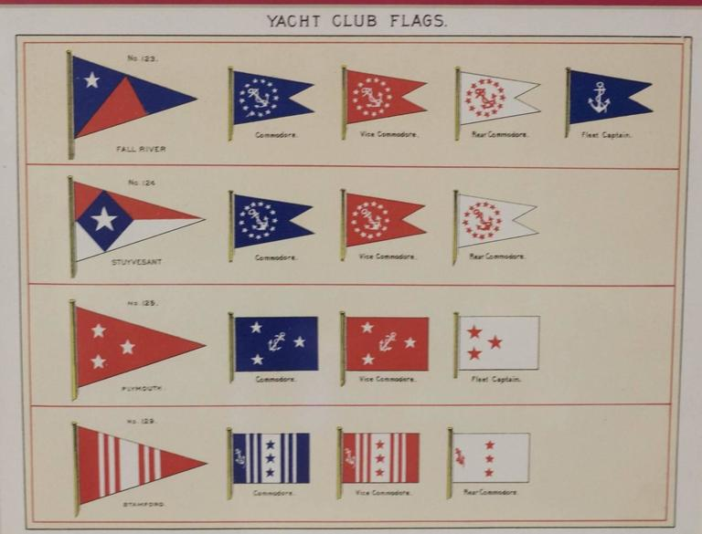 A framed original page from Lloyd's Register, circa 1938. Showing the yacht club flags of Fall River, Stibensent, Plymouth and Stamford. Respective commodore, vice commodore and fleet captain flags. Matted and framed. Dimensions: 12.5