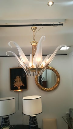 """""""Iris Leaves"""" Chandelier in Murano Glass and brass by Seguso"""