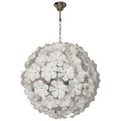 Wonderful Murano Glass Flowers Chandelier Cenedese Style