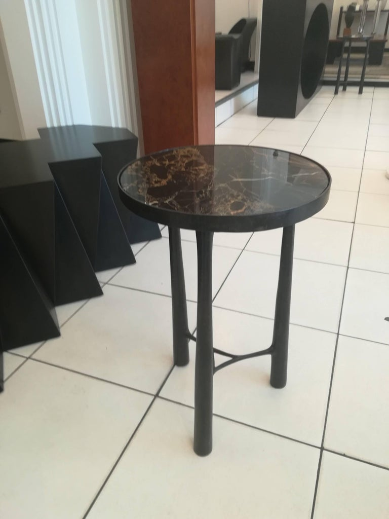 French Gueridon Bronze and Black Marble For Sale 1