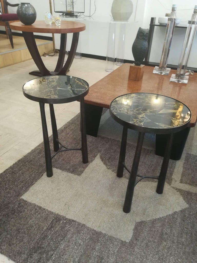 French Gueridon Bronze and Black Marble For Sale 4