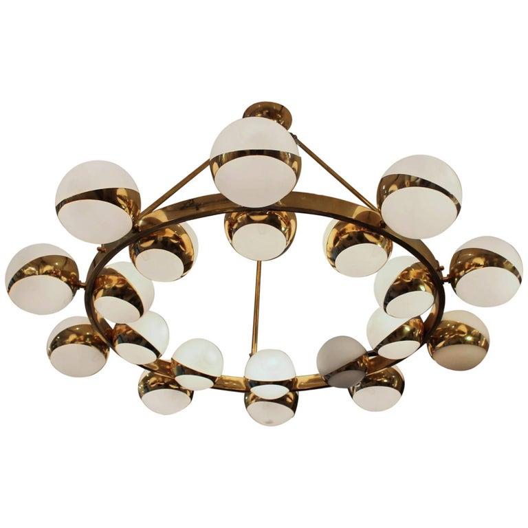 Italian Twenty Globes Circle Chandelier