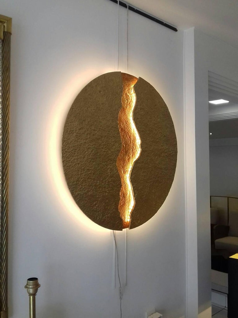 Bronze Wall Light, Volcanic Eruption, Leds Illuminated In Excellent Condition For Sale In Saint-Ouen, FR