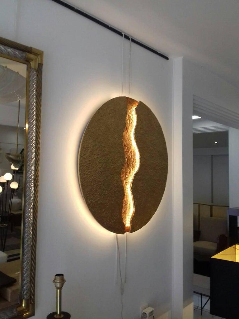 Contemporary Bronze Wall Light, Volcanic Eruption, Leds Illuminated For Sale
