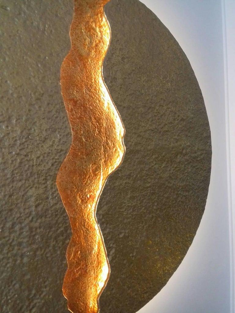 Bronze Wall Light, Volcanic Eruption, Leds Illuminated For Sale 1