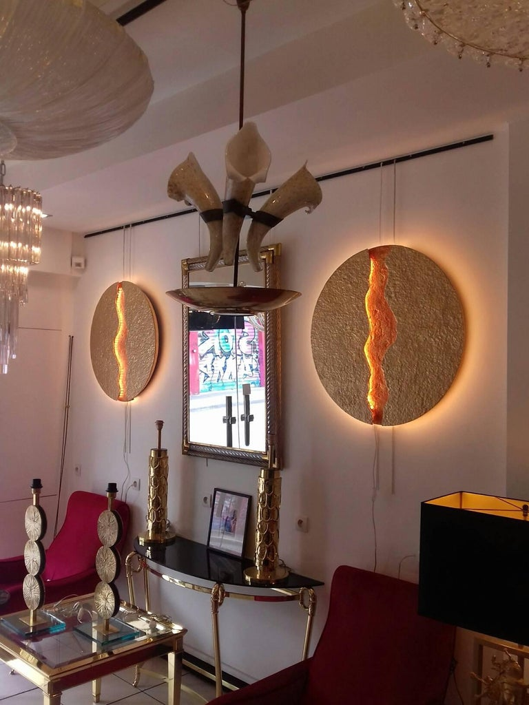 Bronze Wall Light, Volcanic Eruption, Leds Illuminated For Sale 2