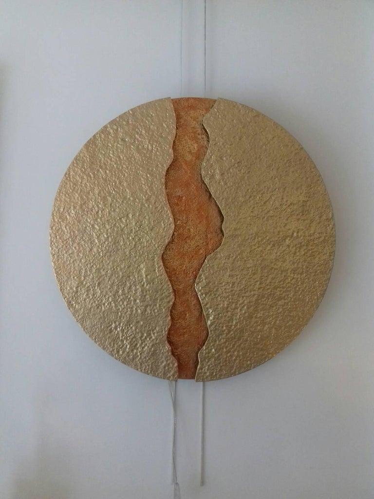 Bronze Wall Light, Volcanic Eruption, Leds Illuminated For Sale 4