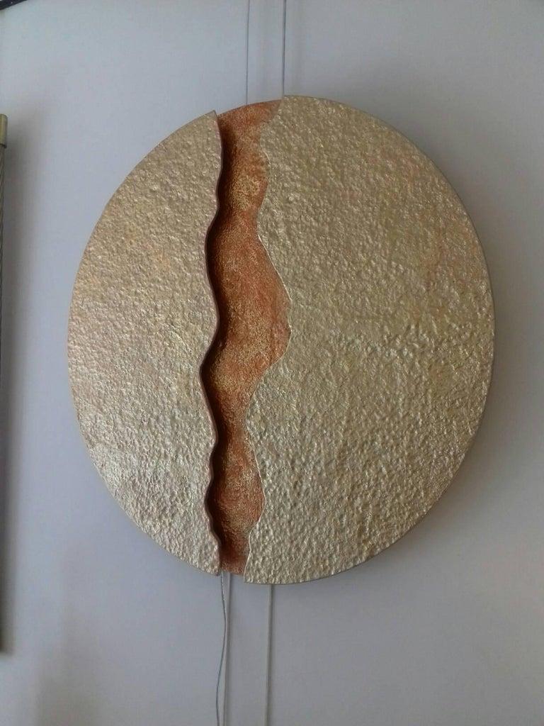 Bronze Wall Light, Volcanic Eruption, Leds Illuminated For Sale 5