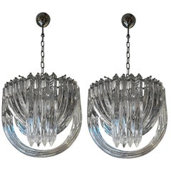 Pair of Murano Curved Crystal Chandelier by Carlo Nason