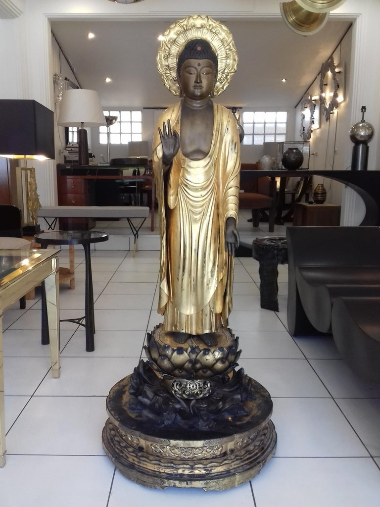 Fantastic Amida Buddha in gold lacquered wood, standing, the left foot slightly forward, on a lotus-shaped base, placed on a round base, in front of a halo formed by a fruit of lotus, the right hand in vitarka mudra (gesture of argumentation). Eyes
