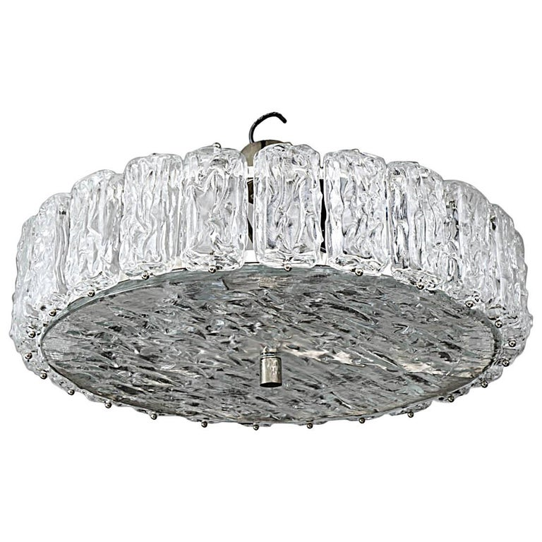 Murano Frosted Glass Chandelier For Sale
