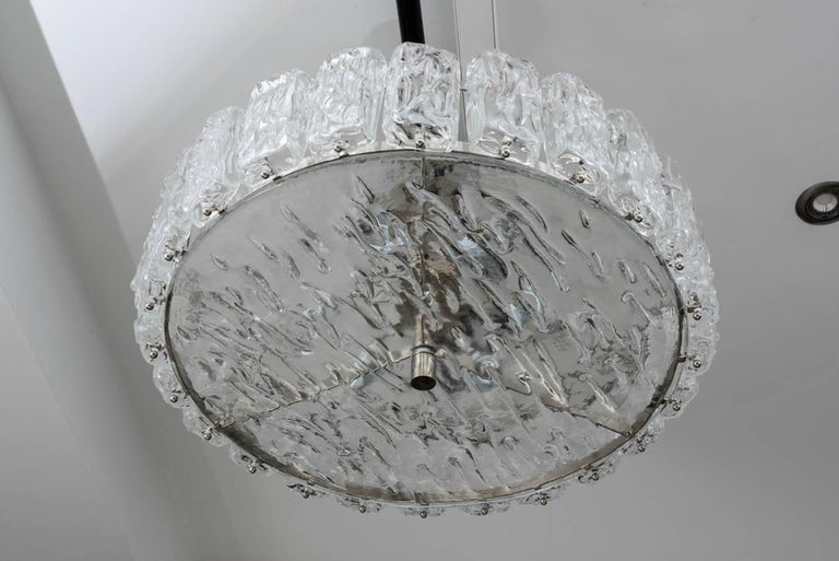 Murano chandelier, ceiling light in thick frosted glass.