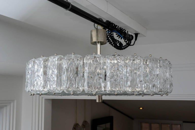 Italian Murano Frosted Glass Chandelier For Sale