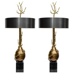 Magnificent Pair of Lamps with a Coral Decor