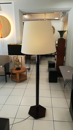 Art Deco Floor Lamp Wood with Aluminum Cup And Lampshade