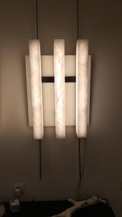 Alabaster and Metal  3 lights Sconce