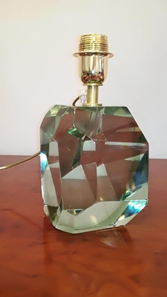 Green Crystal Faceted Table Lamp by Toso