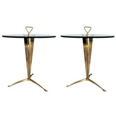 Pair of Gilded Bronze and Glass Tripod Side Tables, circa 1970