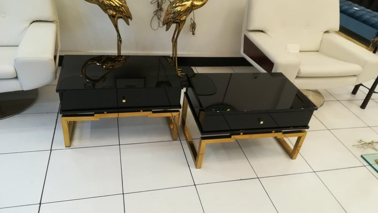 French Pair of Bedsides or End Tables in Lacquered Wood, circa 1970 For Sale