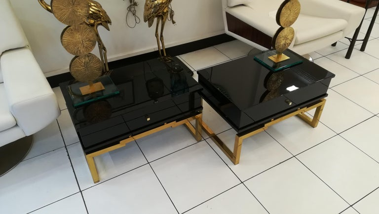 Mid-Century Modern Pair of Bedsides or End Tables in Lacquered Wood, circa 1970 For Sale