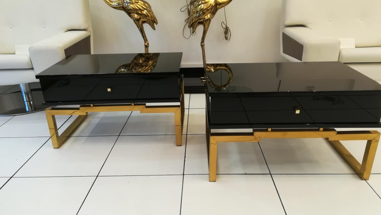 Brass Pair of Bedsides or End Tables in Lacquered Wood, circa 1970 For Sale