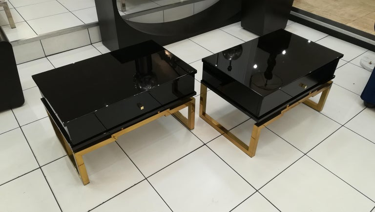 Pair of Bedsides or End Tables in Lacquered Wood, circa 1970 For Sale 1