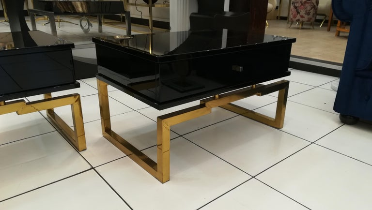 Pair of Bedsides or End Tables in Lacquered Wood, circa 1970 For Sale 2