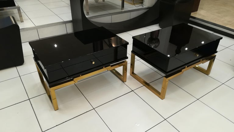 Pair of Bedsides or End Tables in Lacquered Wood, circa 1970 In Excellent Condition For Sale In Saint-Ouen, FR