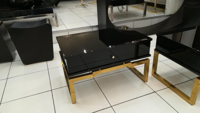 Pair of Bedsides or End Tables in Lacquered Wood, circa 1970 For Sale 5