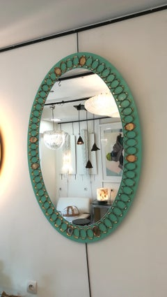 Huge Pair of 1950s Italian Opaline Glass and Brass Mirrors