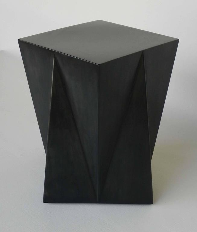 """""""Harry"""" stool, geometrical design, in oxidized steel and black patina, by Ste´phane Ducatteau, 2008.  This line is an exclusive creation for our gallery.  Each piece is signed and numbered."""