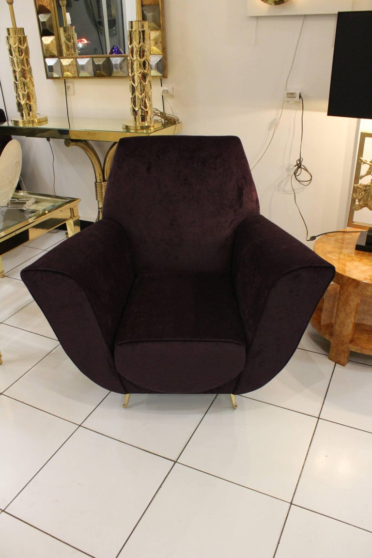 Italian armchairs reupholstered purple velvet in excellent condition.