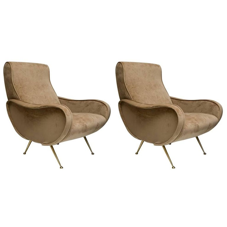 Beautiful Pair of Italian Armchairs in the Taste of Marco Zanuso For Sale