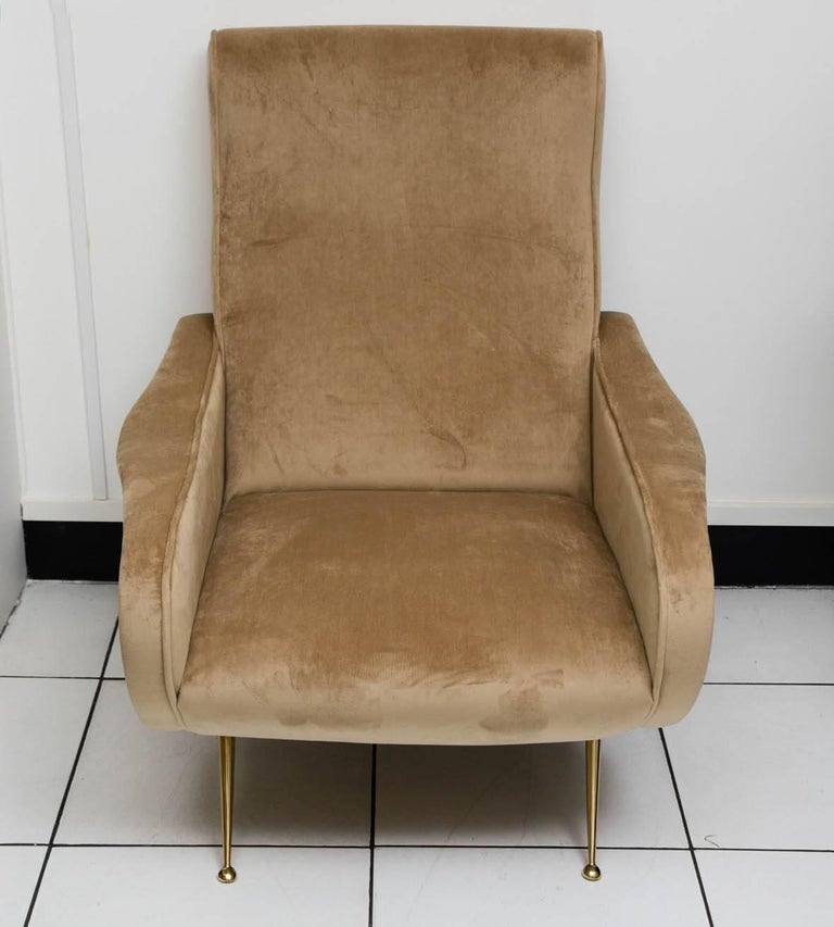 Italian armchairs reupholstered light brown velvet, in excellent condition.