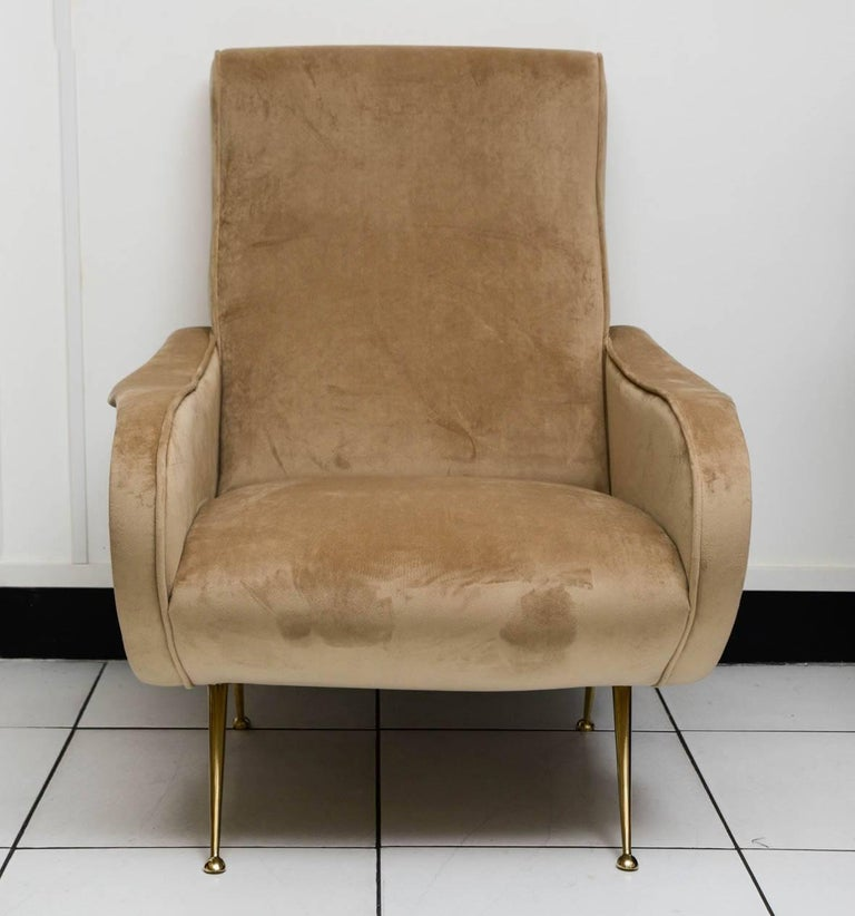 Mid-Century Modern Beautiful Pair of Italian Armchairs in the Taste of Marco Zanuso For Sale
