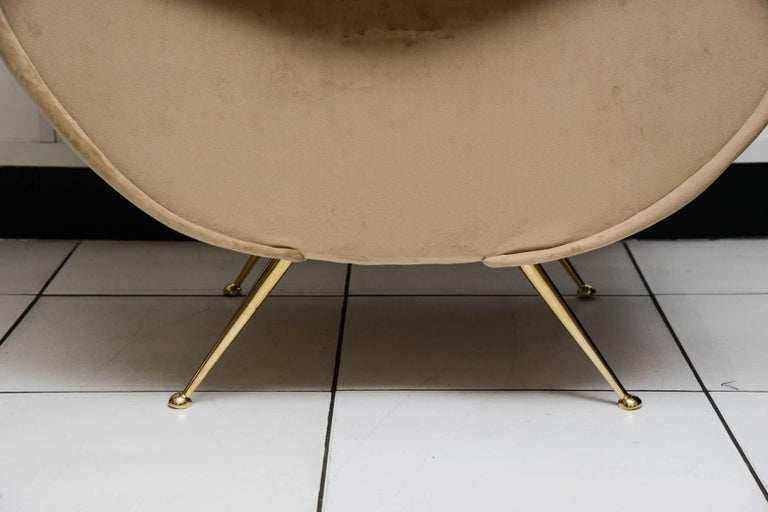 Brass Beautiful Pair of Italian Armchairs in the Taste of Marco Zanuso For Sale