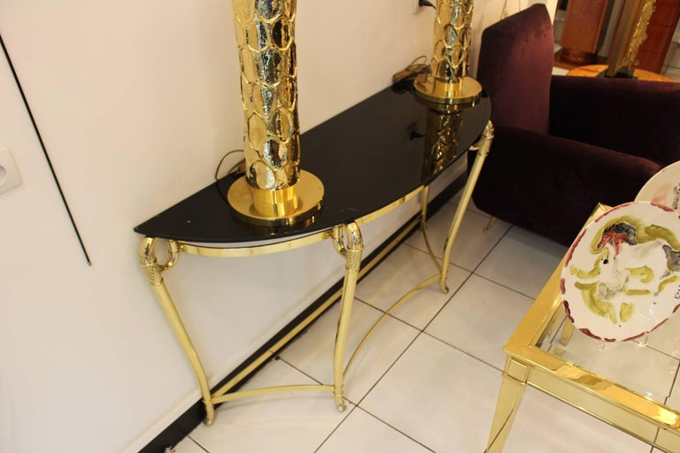 Italian Brass and Black Opaline Glass Console, circa 1970 In Excellent Condition For Sale In Saint-Ouen, FR