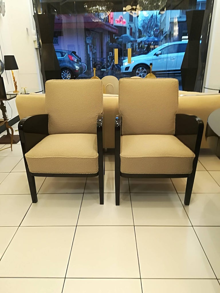 Damon and Berteaux Art Deco Pair of Armchairs, French, circa 1930 For Sale 1
