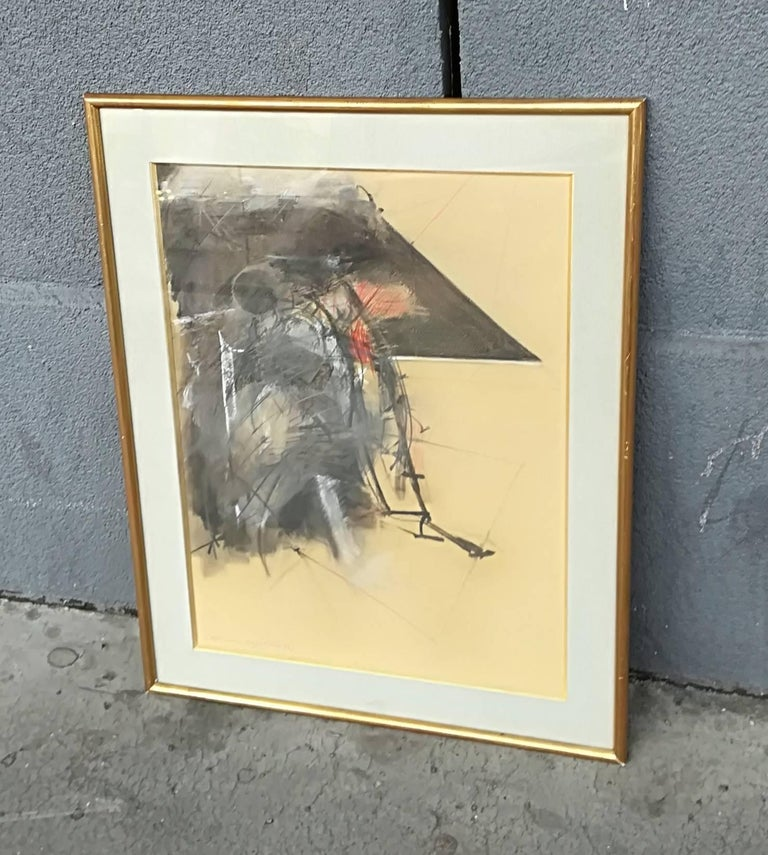 French Albert Bitran Mixed Media on Paper, 1982 For Sale