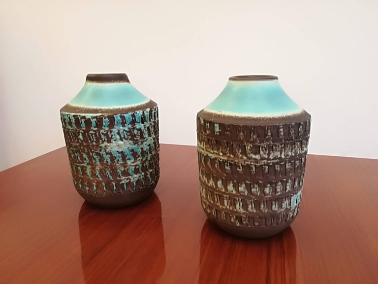 Jean Besnard two Art Deco ceramic vases, circa 1930, signed, in excellent condition.
