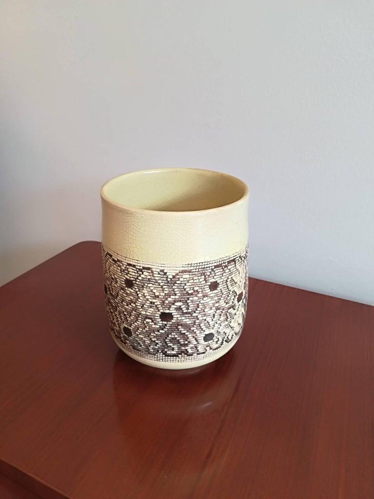 French Jean Besnard Art Deco Ceramic Vase, circa 1932 For Sale